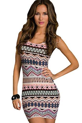 de tamaño 38 damas Aimerfeel 36 con Rosado modelado cuerpo vestido azteca sexy wqvv0xY6A