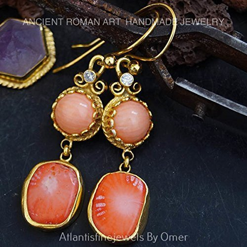 ANCIENT ARTHANDMADE CORAL DANGLE EARRINGS BY OMER 24K GOLD OVER STERLING SILVER ()