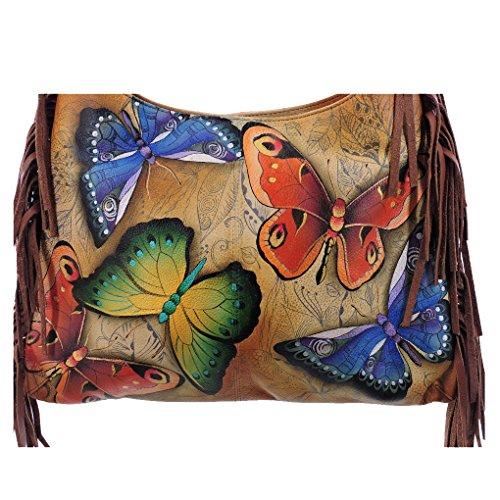 amp; Hobo Anuschka Purse Song Tag Earth Handbag Fringe Handpainted Holder Leather pxwETYwZ