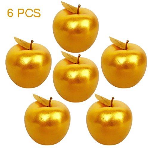 Lorigun 6 Pcs Golden Apples Golden Fruit Crafts Home Decoration Christmas Decor by Lorigun