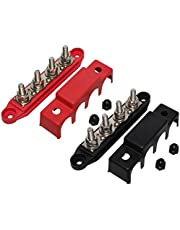 """(Red & Black) 5/16"""" 4 Stud Power Distribution Block -BUSBAR- with Cover - Made in The USA"""