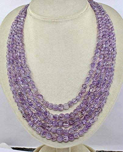 Natural Amethyst Carved Melon Beads Necklace 16 INCHES 10 MM to 5 MM by Gemswholesale ()