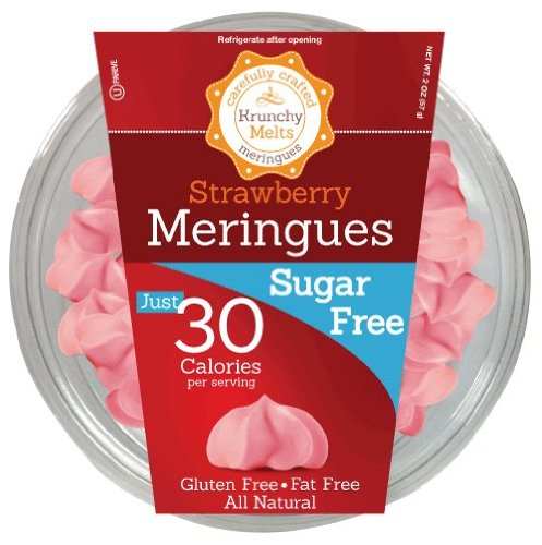 Sugar Free Meringue Cookies (Strawberry) • 30 calories per serving, All Natural, Gluten Free, Fat Free, Zero Net Carbs, Nut Free, Healthy Snack, Kosher, Parve • by Krunchy (Strawberry Sugar Cookies)