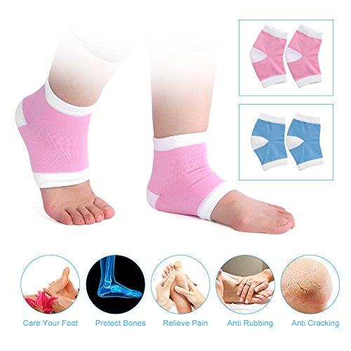 Protection Moisturising - Spa Socks, Gel Spa Heel Socks Moisturising Pedicure Foot Care Open Toe Socks Heel Protection(Pink)