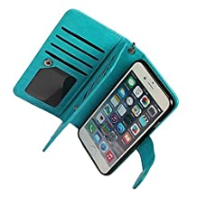 "Case for iPhone 6/6S,xhorizon TM Premium Leather Folio Case[Wallet Function][Magnetic Detachable]Wristlet Lanyard Flip Book Style Multiple Card Slots Case for iPhone 6/6S (4.7"")- Blue"