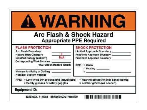 brady-121083-vinyl-preprinted-arc-flash-shock-labels-black-and-orange-on-white-5-height-x-7-legend-w