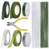 Soeenaper Floral Arrangement Kit Tools, LAMPTOP Floral Supplies Included 4Rolls Floral Tapes, 200pcs Floral 26 Guage Stem Wire, 2rolls 132ft/40m Floral Wire and Cutter