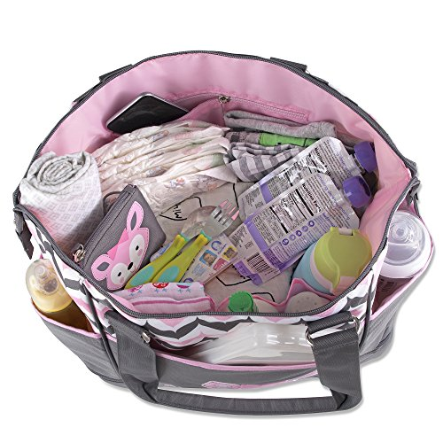 213067cb4b84c Baby Essentials Diaper Bag + Diaper Changing Kit with Portable Nap Mat -  Pink/Grey Fox