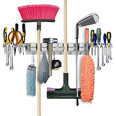 Anybest The Most Practical Home Organizer Wall-Mounted Tool Rack Organizer for Gardens Bathrooms Balconies with Storerooms 6-Position & 6-Hook & 2-Tool Platforms