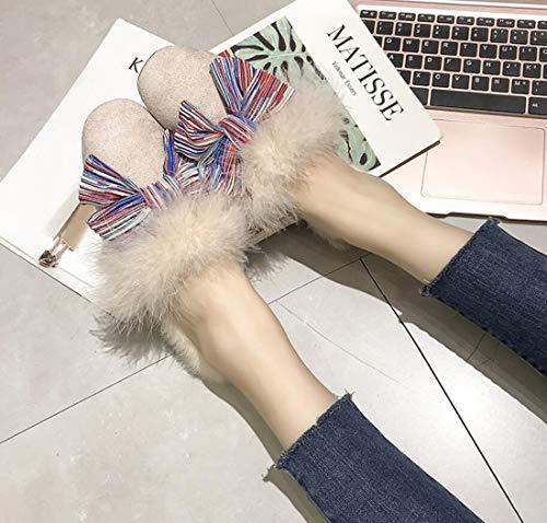 Inicio Talón Pie Beige Zapatos Plano Cierre De De Mujer Zapatos La De DANDANJIE Tacón De Felpa De Zapatillas Otoño wPznpqR