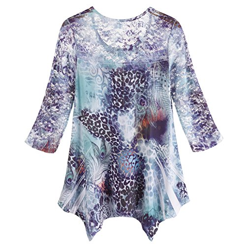 Women's Tunic Top - Peacock Swirls Asymmetrical Blouse - 1X