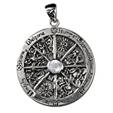 Sterling Silver Wheel of the Year Pendant with Natural Rainbow Moonstone; 1.75 Inch Diameter