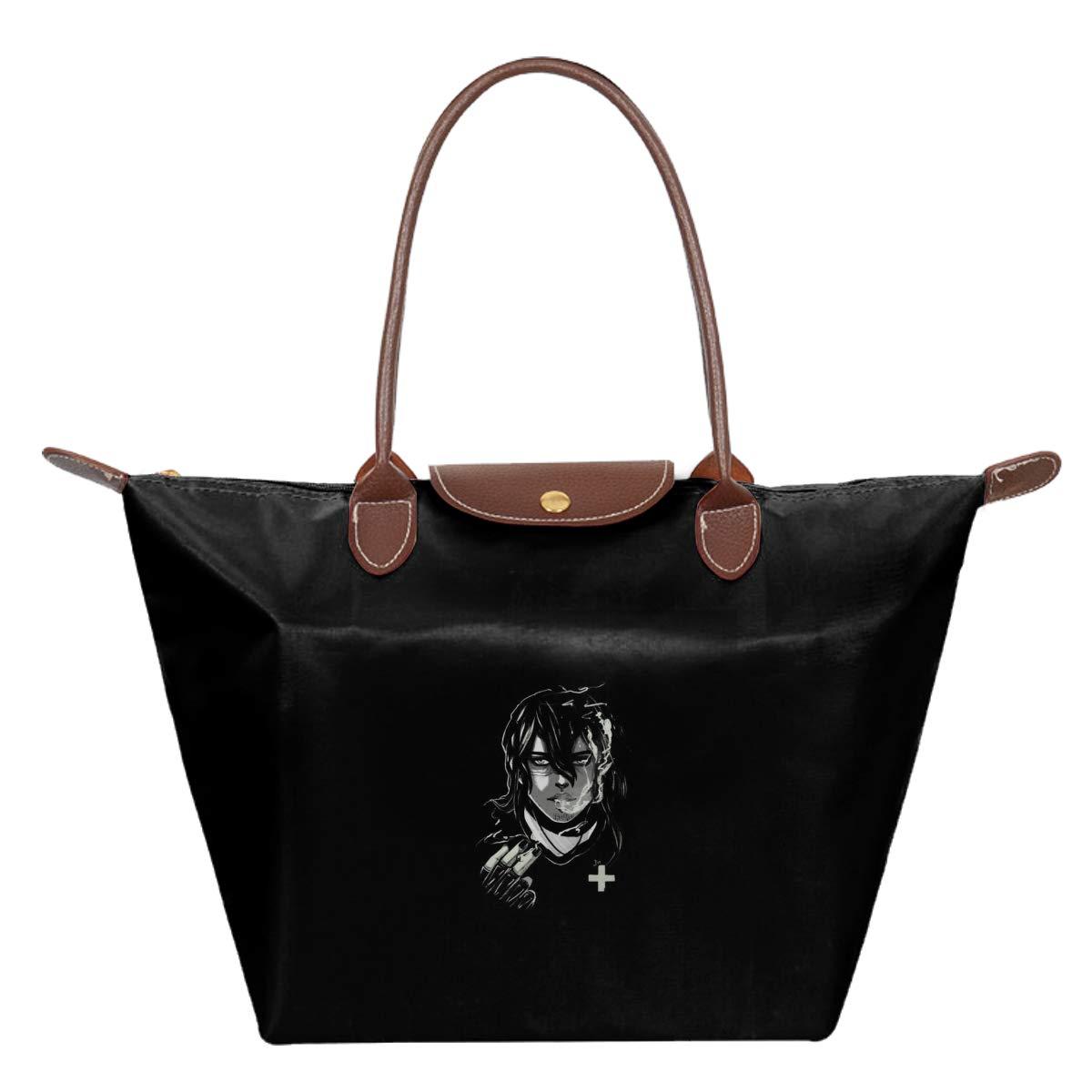 Aizawa Shota Black And White Waterproof Leather Folded Messenger Nylon Bag Travel Tote Hopping Folding School Handbags