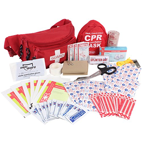Ever Ready First Aid Fanny Pack/Hip Pack, Fully Stocked First Aid Kit with Adult & Infant CPR Combo Masks ()