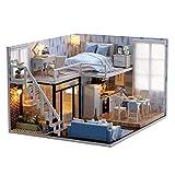 Casa de muñecas DIY linda casa en miniatura modelo kit con música regalo de cumpleaños decoración para el hogar