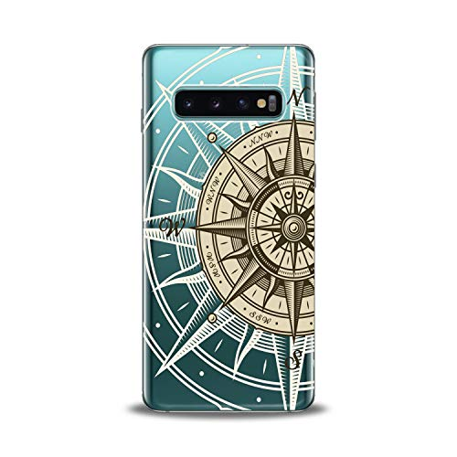 Lex Altern TPU Case for Samsung Galaxy s10 5G Plus 10e Note 9 s9 s8 s7 Сompass Art Smooth Map Cover East Design Print West Lightweight Gift South Soft Flexible White Clear North Slim fit Beige Travel -