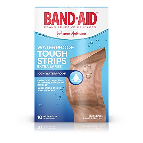 Band-Aid Brand Adhesive Bandages, Extra Large Tough Strips, Waterproof, 10 Count (Pack of 2) ()
