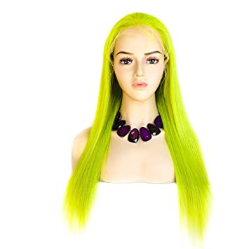 XRS Hair Wig Lime Green Color Full Lace Human