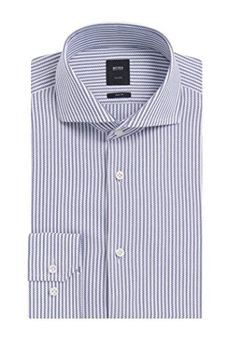 Hugo Boss Men's 'T-Christo' Blue Slim Fit Striped Cotton Dress Shirt 18, 35/36