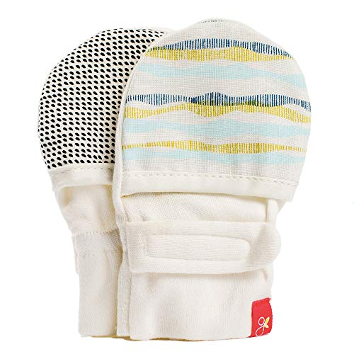 Goumimitts, Scratch Free Baby Mittens, Organic Soft Stay On Unisex Mittens, Stops Scratches and Prevents Germs (3-6 Months, Geo Wave (aqua)) ()