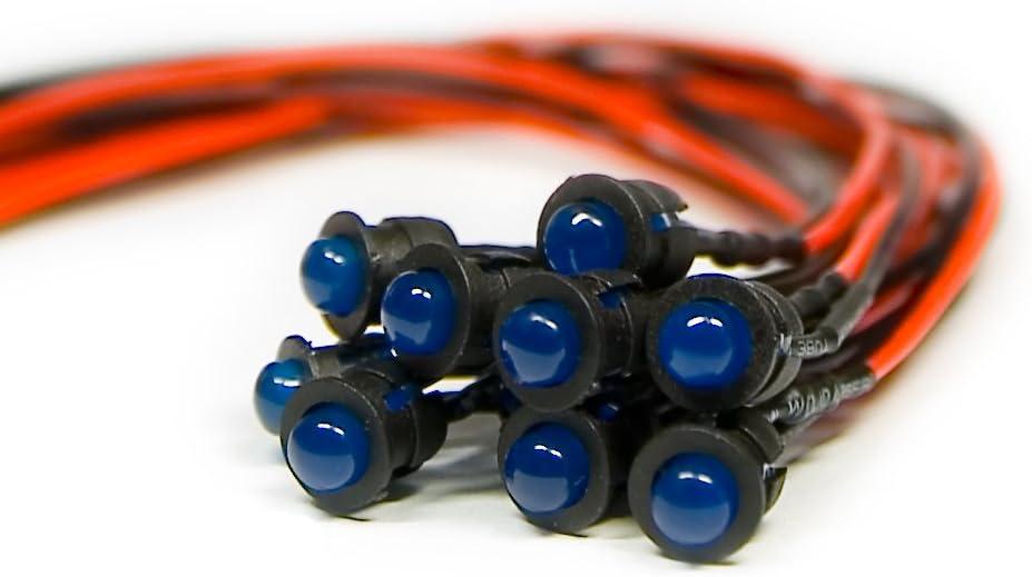 Plastik Halterung pre Wired Blau Diffus 12V 5mm 10 x Verkabelte Dioden LED