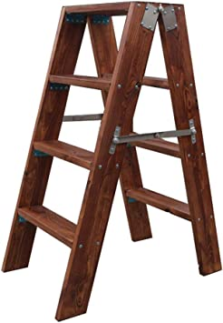 Amazon Com Hgna Stepladders Wood Step Stool Reversible Folding Ladder Chair Multi Step Shelves Antique Walnut Color Max Load 120kg 260lbs Furniture Decor