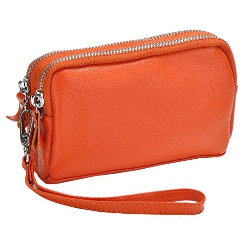 Zip Orange Bag Leather Wallet Coin Wristlet Clutch Women's Sale Organizer Purse PFYwHa