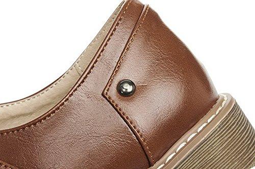 Amoonyfashion Damesmengsel Materialen Lage Hakken Stevige Klittenband Pumps-schoenen Bruin