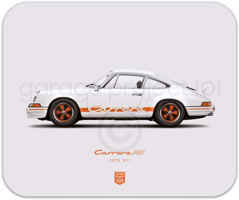 GarageProject101 1973 Classic 911 Carrera RS White Illustration Mouse Pad