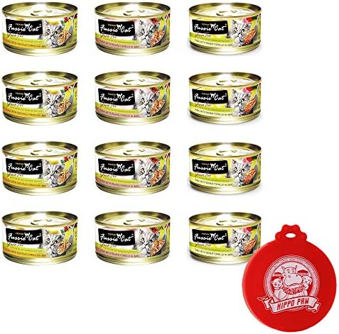 Fussie Cat Premium Can Wet Food Variety 12 Pack 4 Tuna with Anchovies, 4 Tuna with Prawns, 4 Tuna with Shrimp 2.8 oz Cans with Hippo Paw Silicone Universal Can Cover Assorted Color and Design
