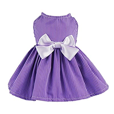 Fitwarm Elegant Dog Dress Pet Clothes Striped Shirts Cat Apparel, Purple from Fitwarm