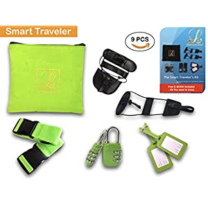 Luggage Straps Bungee Pack Travel Kit Set Bag Tags Lock Pouch Wallet All In One