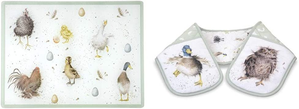 Wrendale by Royal Worcester Glass Worktop Saver Wrendale Designs /& Pimpernel Wrendale Designs Coasters Set of 6