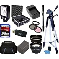 "Advanced Accessory Kit For Sony HDR-PJ710V HDR-PJ760V HDR-PJ790V HDR-CX760V Handycam Camcorder - Includes 3PC Filter Kit + Wide Angle Lens + Telephoto + 32GB SD Memory Card + Replacement NP-FV100 Battery + Battery Charger + LED Video Light + Deluxe Case + 57"" Tripod + Mini HDMI Cable & Much More!!"