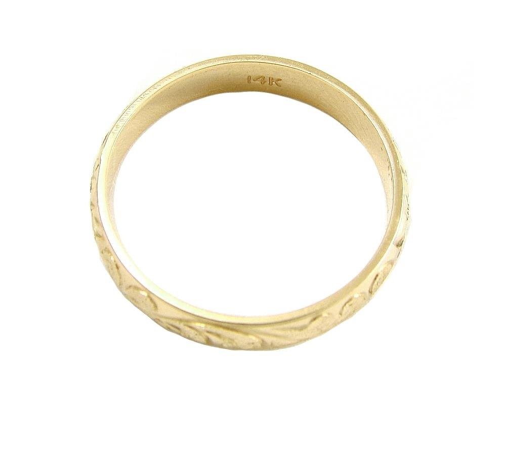 14K yellow gold custom hand engrave Hawaiian queen plumeria scroll band ring 4mm size 7 by Arthur's Jewelry (Image #4)
