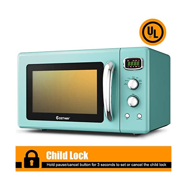 COSTWAY Retro Countertop Microwave Oven, 0.9Cu.ft, 900W Microwave Oven, with 5 Micro Power, Defrost & Auto Cooking… 5