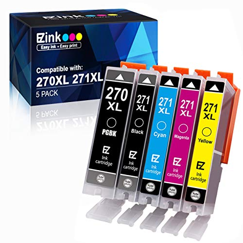 E-Z Ink (TM) Compatible Ink Cartridge Replacement for Canon PGI-270XL CLI-271XL PGI 270 XL CLI 271 XL to use with PIXMA MG6820 MG5720 (1 Large Black,1 Small Black,1 Cyan,1 Magenta,1 Yellow) 5 Pack