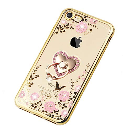 GGET iPhone 7 Case, iPhone 8 Case Floral Pretty Phone Case with Ring Design for Girls Women, Glitter Clear Flexible TPU Case - Bling Slim Cover for iPhone 7/8 with Diamond and 360 Ring Stand (Gold)