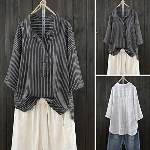 Chemise Chic Dcontract Coton TiaQ Femmes Noir Pull Chemise T Bouton Mode Shirt Lin Blouse Ray Up Top qESUAW