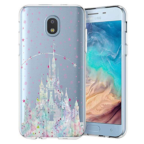 Unov Case Compatible with Galaxy J7 2018 Clear with Design Slim Protective Soft TPU Embossed Pattern Cover for Galaxy J7 Crown J7 Refine J7 Star J7 V J7V 2nd Gen J7 Aero J737V(Watercolor Castle) (Disney Star)