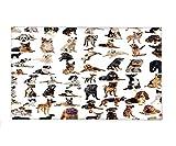 Interestlee Fleece Throw Blanket Dog Lover Decor Collection Picture with Purebred Dogs Australian Sheepdog Belgian Boxer Italian Mastiff Brown Black