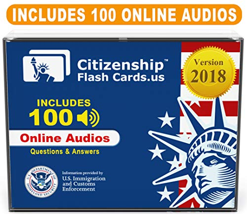 US Citizenship Civics Flashcards 2018 - Includes Online Audios for Naturalization Test. Learn all 100 Official USCIS Civics Questions and Answers in only 20 days. USCIS Civics Flash Cards.