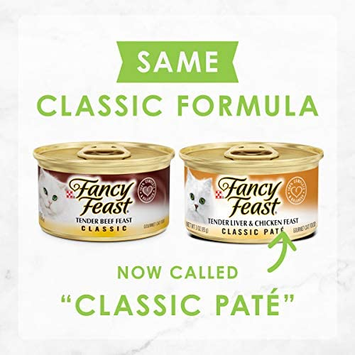 Purina Fancy Feast Grain Free Pate Wet Cat Food Variety Pack, Poultry & Beef Collection - (30) 3 oz. Cans 3