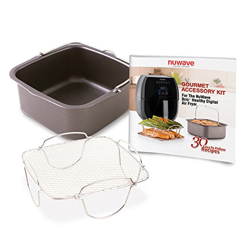 Nuwave 6 qt Brio Air Fryer with Accessory Kit, rever. rack, baking pan, 30 recipes