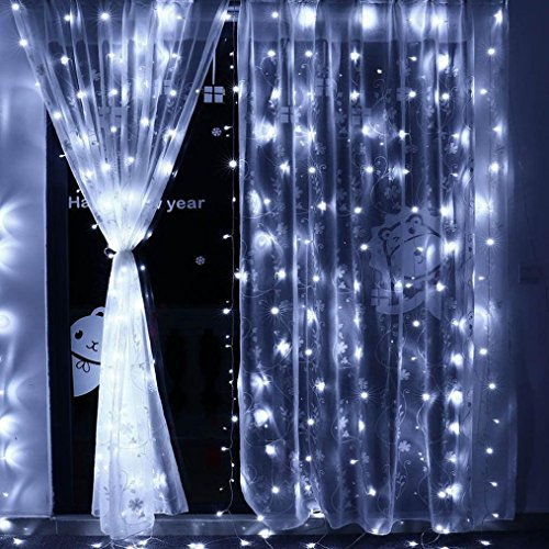 Price comparison product image Clearance Sale!DEESEE(TM)3Mx3M 300LED Window Curtain Lights 8 Modes Controller Fairy Wedding Party Decor (White)