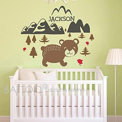Amazon.com: BATTOO Bear Mountain Wall Decal Baby Animal Nursery ...