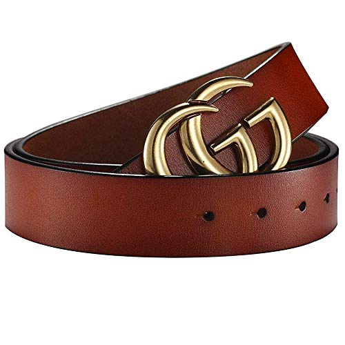 Fashion Belt for Women Dress Genuine Leather Belts For Jeans With Letter Gold Buckle (1.5 inch Width) (Brown, 43.3 ()