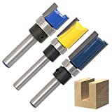 QLOUNI 3pcs Router Bit Set Double Straight Flute Flush Trim 1/4 inch Shank Trim Bit Template Cutter 1/2'' Diameter Top Bearing