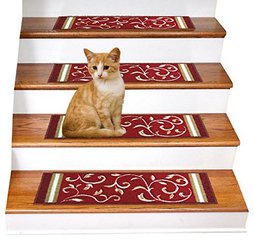 Gloria Rug Skid-Resistant Rubber Backing Gripper Non-Slip Carpet Stair Treads - Washable Stair Mat Area Rug (SET OF 7), 8.5