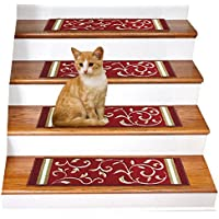Gloria Rug Skid-Resistant Rubber Backing Gripper Non-Slip Carpet Stair Treads - Washable Stair Mat Area Rug (SET OF 7), 8.5' x 26', Red Floral Design